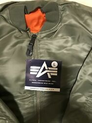 G.i. Usaf Ma-1 Green Flyers Jacket By Alpha Industries Made In Usa