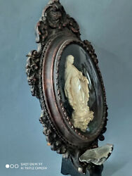 19th C Virgin Mary Holy Water Font Reliquary Icon Napoleonian Frame