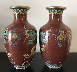 A Pair Of Vintage Chinese Cloisonne Red Vase With Dragons