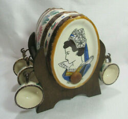 Hb Quimper France Vintage 1960's Hand Painted Brandy Cask W Stand And Cup Holders