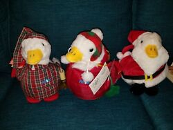 Lot Of 3 Aflac Talking Christmas Duck Plush 10 2006, 2007, 2008