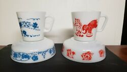 4 Rare Pyrex Childrens Train And Clown Milk Glass Restaurant Thick Dishes
