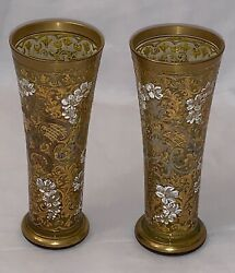 Very Beautiful Bohemian Enamelled Light Green Pair Of Small Glass Vases, Heavily
