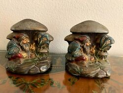 1920and039s Armor Bronze Bookends Dwarf Gnome Butterfly Mushrooms.