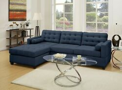 Modern Cushioned Tufted Reversible Chaise Couch Sectional Sofa Set Dark Blue
