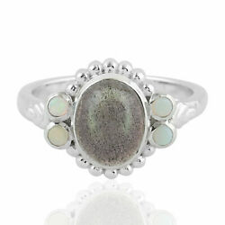 2.18ct Labradorite Cocktail Ring 925 Sterling Silver Precious Opals Jewelry