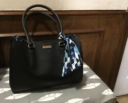 Large Trina Turk Black Leather Satchel Purse With Scarf $10.00