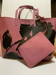 Dkny 2 Pc Shoppers Tote And Matching Wristlet In Plum And Black 119 On Sale 39