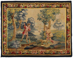 Antique French Aubusson Tapestry Wool And Silk 5'x7' Area Rug 160cm X 193cm 1900