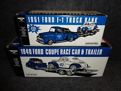 Wix 1951 Ford F-1 Pickup Truck And 1940 Ford Coupe Dirt Track Racer And Trailer Ertl