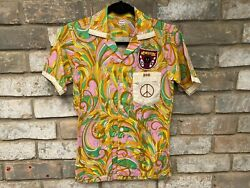 Vintage Bowling Shirt 1970s Bowling Shirt Psychedelic Hippy Peace Sign Button Up