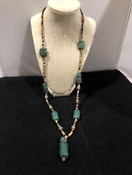 Unique 32andrdquo Sterling Hand Made Hand Carved Turquoise Tiki Figures Necklace
