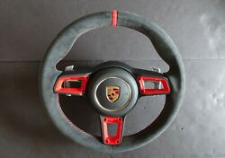 Porsche 991 Gt3 Rs Pdk Alcantara Gt Steering A B Wheel Red Stitch Top Red Covers