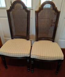 2 Henredon Furniture Cane Back Dining Side Chairs Gold Accent Excellent