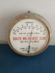 Vtg South Milwaukee Bank Outdoor Porcelain Thermometer Advertising Sign Ohio