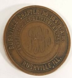 1881 Rushville Illinois Chapter R.a.m No.184 One Penny Masonic Engraved Initials