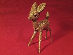 """Vintage Hard Plastic Gold Glitter Christmas Reindeer With Bell Approx. 5.5"""" X 7"""""""