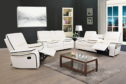New Modern White Leather 3pc Recliner Sofa Set - Comfortable 5 Seats Recline