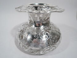Black Starr And Frost Vase - 198 - Large Antique - American Glass Silver Overlay