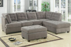 Charcoal Waffle Suede Reversible Sectional Plush Cushion 3-seat Sofa Chaise