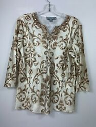 Samantha Grey Womens Size 10 Popover Shirt Top Bling Embellished 3 4 Sleeves $7.19