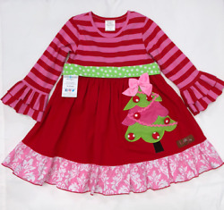 Christmas Tree Girls Bell Sleeve Dress Red Pink Multiple Sizes BNWT
