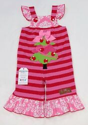 Christmas Tree Girls Romper Red Pink Green Multiple Sizes BNWT