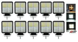 Led Work Square Lights X10 White Amber Drl Cross Fits John Deere Valtra Tractor
