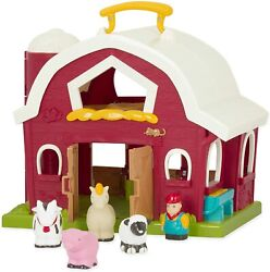 New Red White Foldout Barn W Cow Horse Pig Sheep Farmer Classic Toddler Toy Set