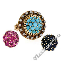 Antique 18k Yellow Gold J. Rossi Interchangeable Gem Cluster And Diamond Halo Ring