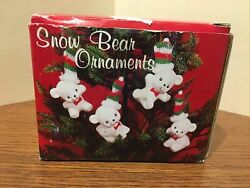 4 White Snow Bear Ceramic Ornaments or Figurines w Knitted Hats 3quot; High