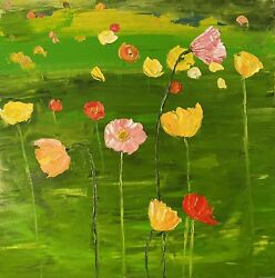 Icelandic Poppies Original Oil On Canvas Large Painting 24x24 Inches