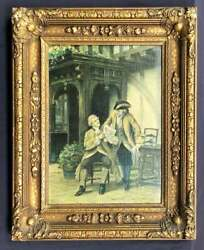 Antique Painting, English Portrait Oil, By Frank Moss Bennett, Gold Framed,1923