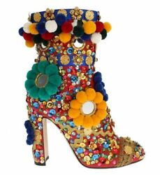 Dolceandgabbana High Heels Ankle Boots Red Leather Crystal Sequined Booties Eu 36