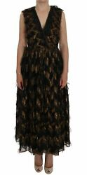 Dolceandgabbana Women Brown Dress Silk Lace Fringes Zip Maxi A-line V-neck Gown