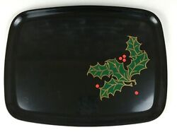 Vintage Couroc Black Tray Holly Red Berries Inlaid Brass Christmas Monterey Ca