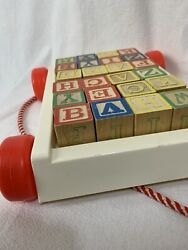 24 Vintage 80s Wooden Blocks Children's Toy Alphabet And Numbers W/ Plastic Pully