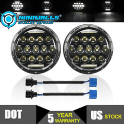 Dot 7 Inch Round Led Headlight Combo Projector Drl Black For Dodge Ram 1500