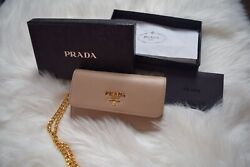 Prada Wallet Nude Saffiano Card Holder With Chain. Authentic. Brand New In Box.andnbsp