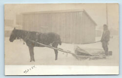 Horse And Home Made Carriage Delivery Wagon Sled C1907 Small Town Farm Rppc