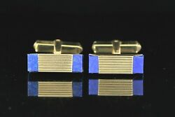 4,250 Vintage Men's 18k Solid Yellow Gold Square Blue Lapis Cufflinks Cuff Link