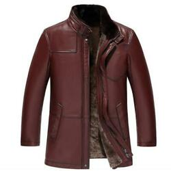 Menand039s Business Leisure Real Leather Cashmere Lined Parka Jackets Stand Collar L