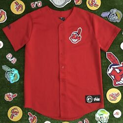Cleveland Indians Jersey Majestic Red Chief Wahoo Youth Size Xl Vintage Usa