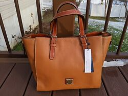 Dooney And Bourke Caramel Pebble Grain Large Mindy Tote Expandable Sides