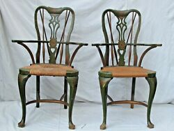 Antique Painted Queen Anne Arm Chairs W/ Brace Backs And Rush Seats Unusual