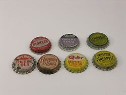 Cork Lined Bottle Caps Elwins Mission Quiky Pioneer Pineapple Soda Lot Of 7