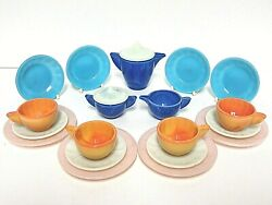 Akro Agate Large Interior Panel 21 Piece 5 Color Gypsy Childs Tea Set Signed 32
