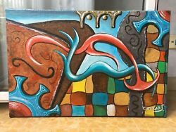 Old Painting Oil On Canvas Abstract Colorful Fantasy Decoration