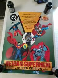 1993 Fossil Watch Reign Of The Supermen Promotional Poster - Superman - 28 X 22