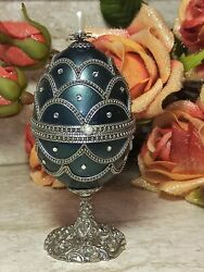 Faberge Real Egg Russian Blue Silver Music Fabrege Egg Trinket Hand Decor .64ct